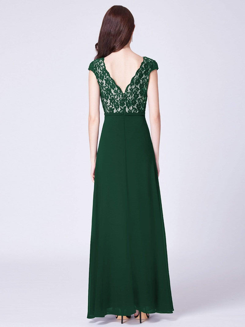 Long Evening Dress With Lace Bust-Dark Green 2