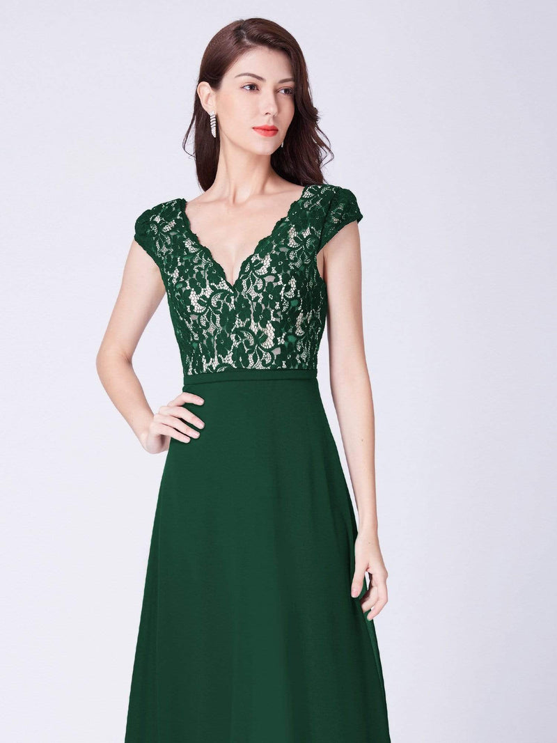 Long Evening Dress With Lace Bust-Dark Green 5