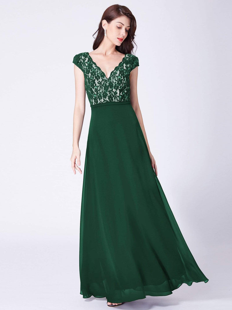 Long Evening Dress With Lace Bust-Dark Green 1
