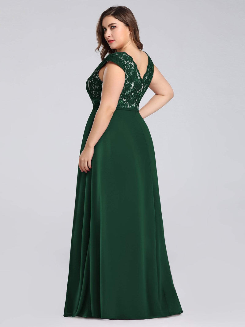 Plus Size Long Evening Dress With Lace Bust-Dark Green 2