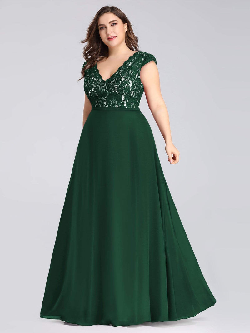 Plus Size Long Evening Dress With Lace Bust-Dark Green 3