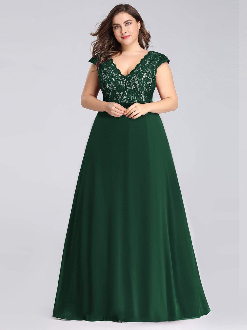 Plus Size Long Evening Dress With Lace Bust-Dark Green 4