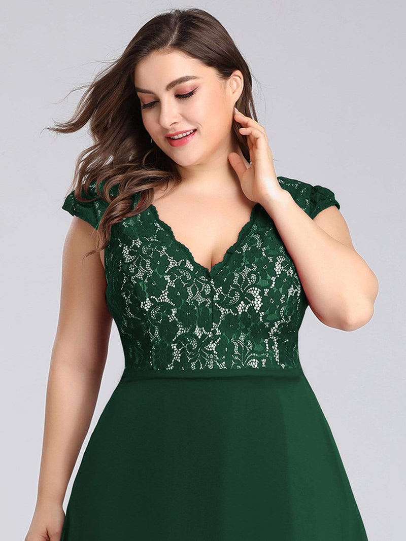 Plus Size Long Evening Dress With Lace Bust-Dark Green 5