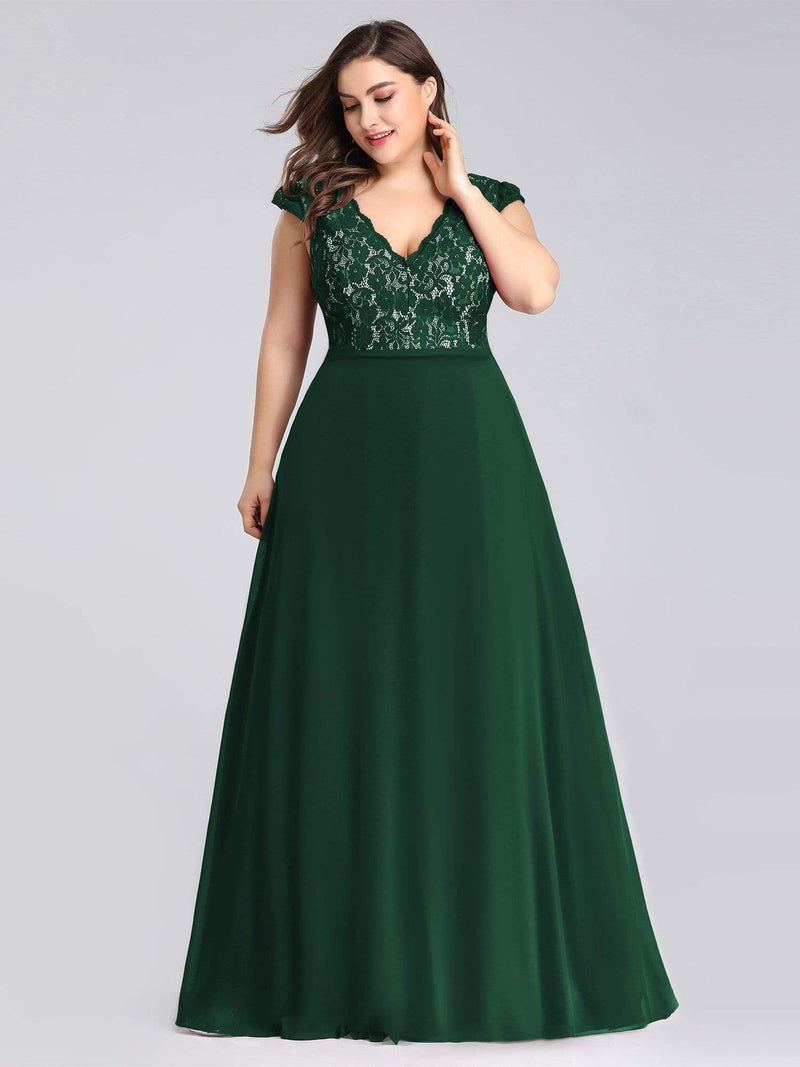 Plus Size Long Evening Dress With Lace Bust-Dark Green 1