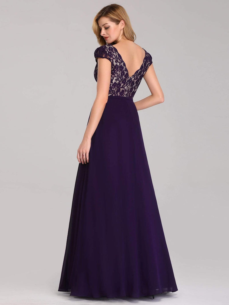 Long Evening Dress With Lace Bust-Dark Purple 2