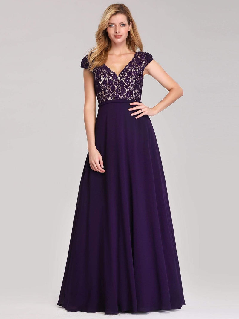 Long Evening Dress With Lace Bust-Dark Purple 1