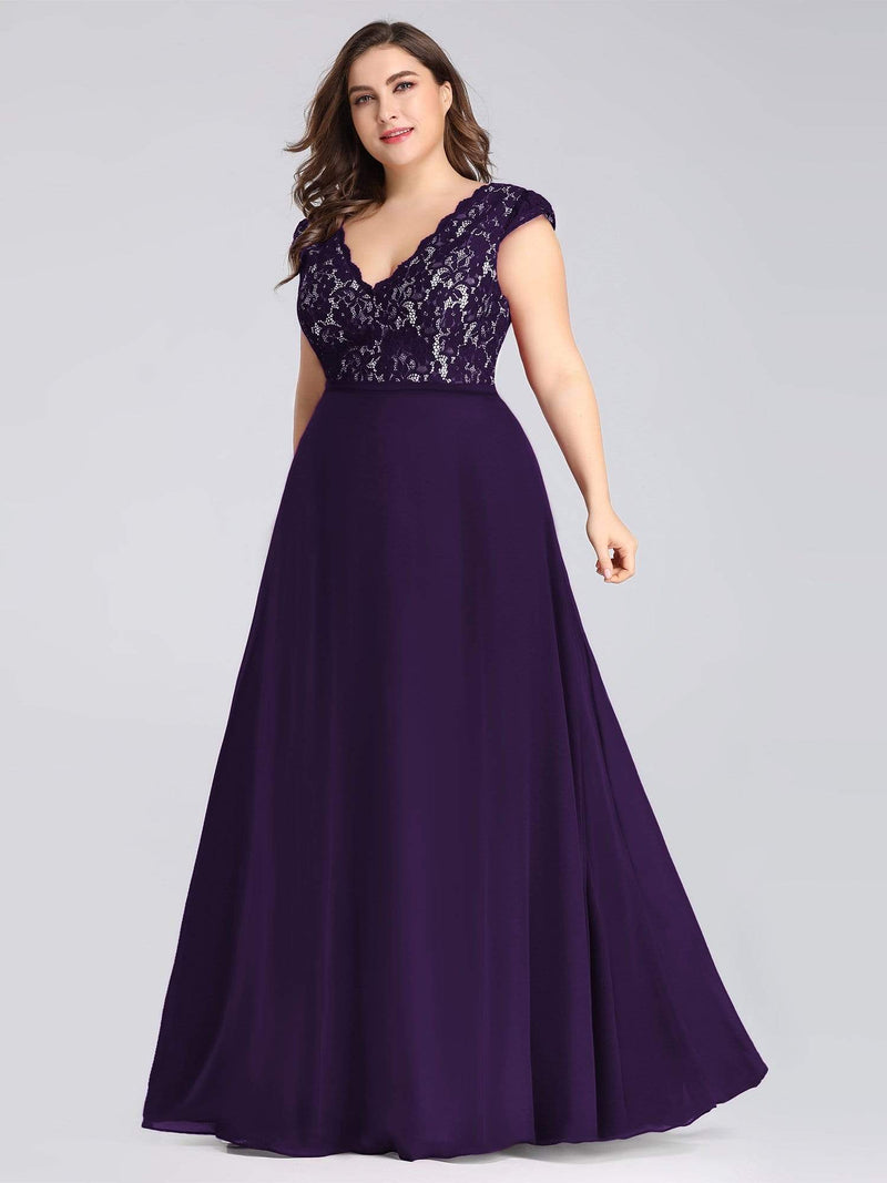 Plus Size Long Evening Dress With Lace Bust-Dark Purple 3