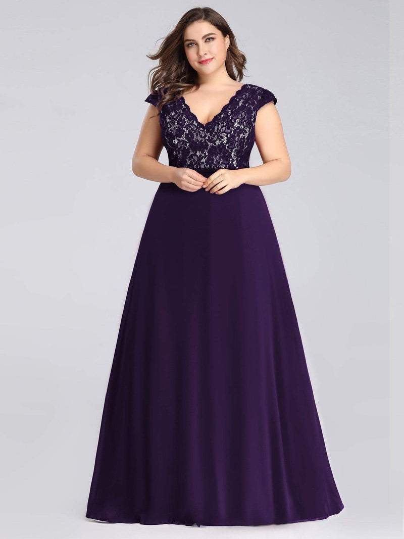 Plus Size Long Evening Dress With Lace Bust-Dark Purple 4