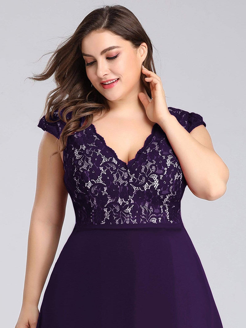 Plus Size Long Evening Dress With Lace Bust-Dark Purple 5