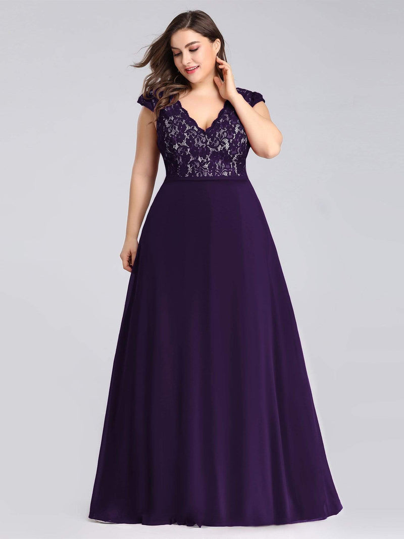 Plus Size Long Evening Dress With Lace Bust-Dark Purple 1