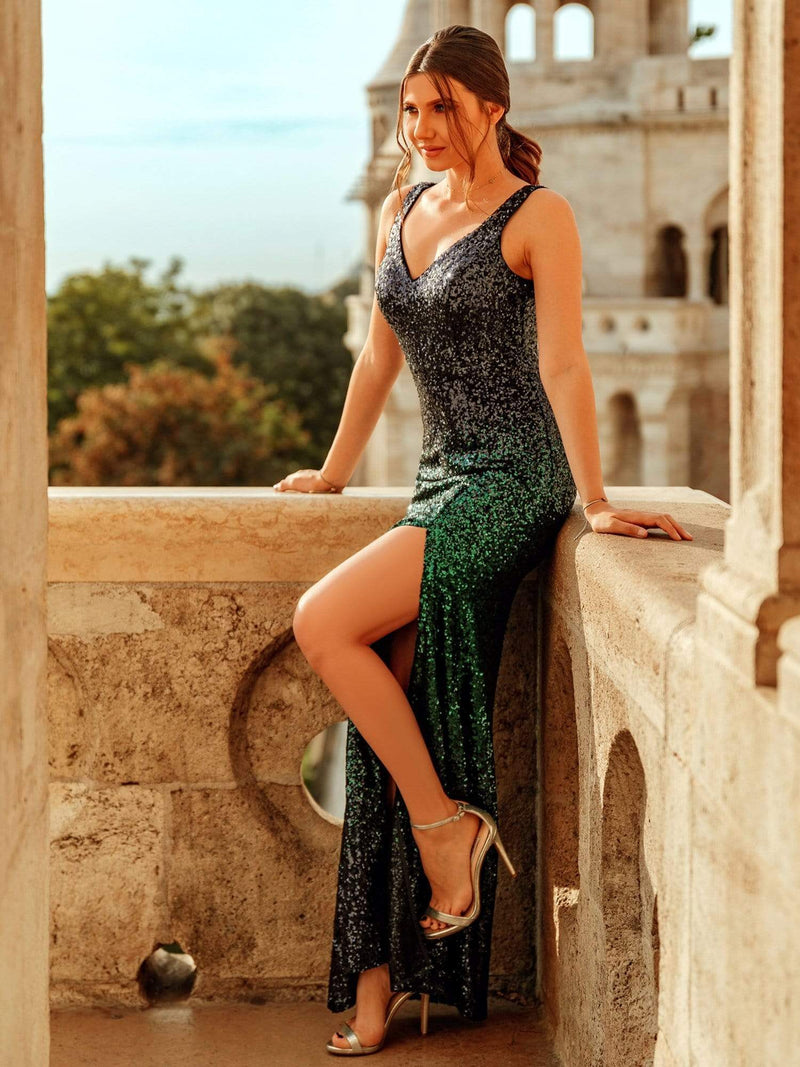 Floor Length Sequin Evening Dress With Thigh High Slit-Navy Blue 4