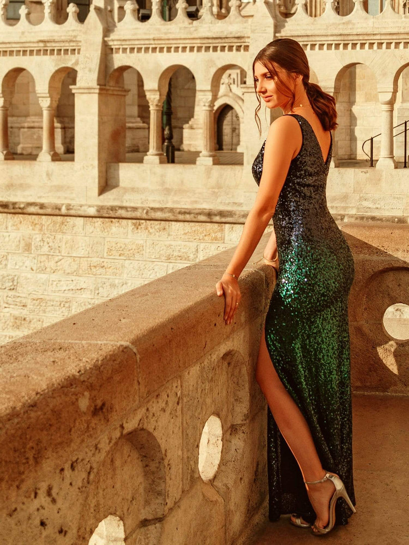 Floor Length Sequin Evening Dress With Thigh High Slit-Navy Blue 2