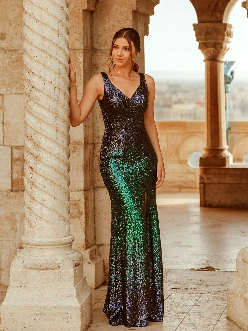 Floor Length Sequin Evening Dress With Thigh High Slit-Navy Blue 1