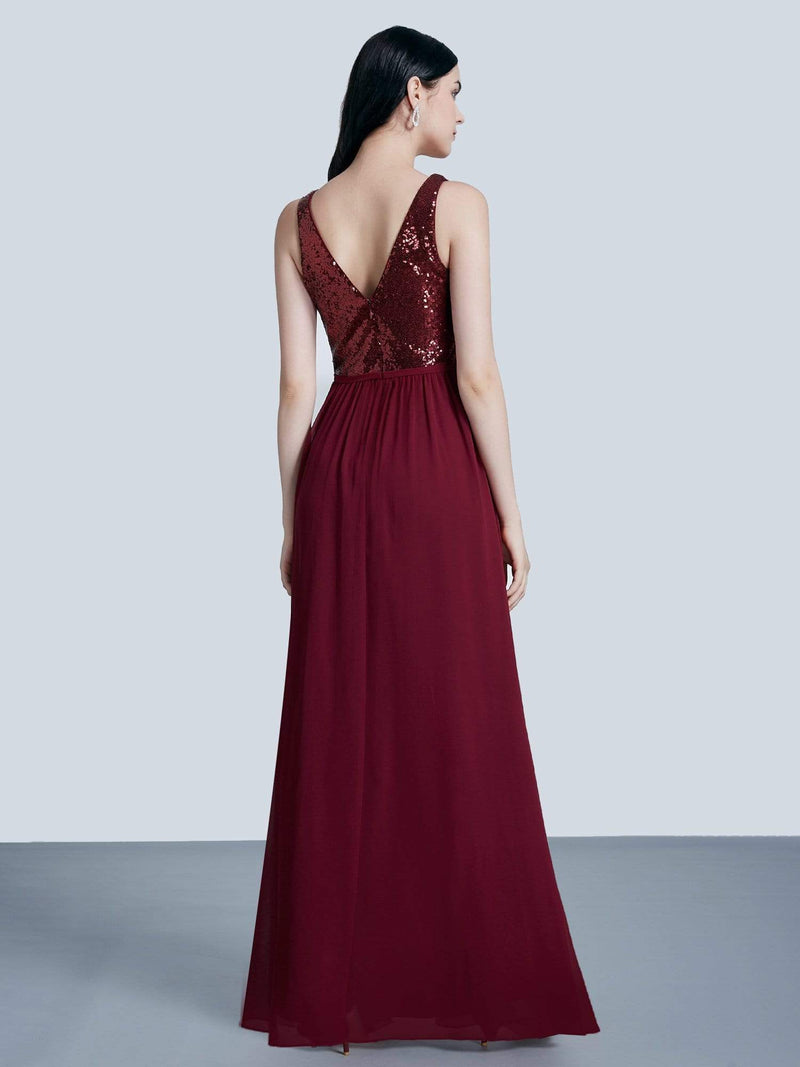 Long Sequin And Chiffon Evening Dress-Burgundy 3