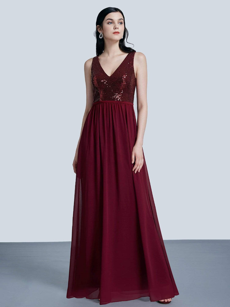 Long Sequin And Chiffon Evening Dress-Burgundy 4