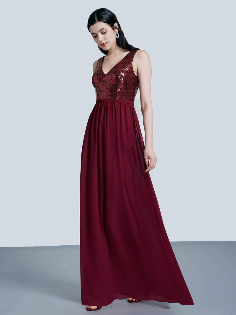Long Sequin And Chiffon Evening Dress-Burgundy 5