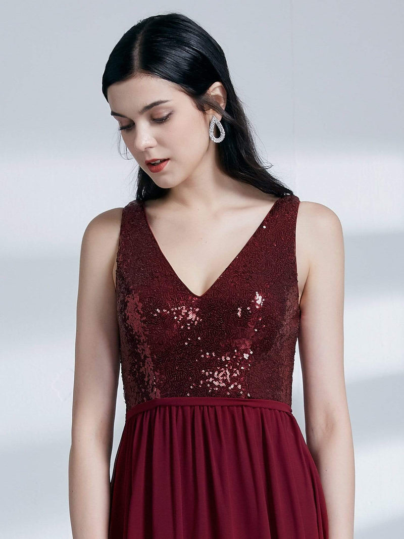 Long Sequin And Chiffon Evening Dress-Burgundy 6