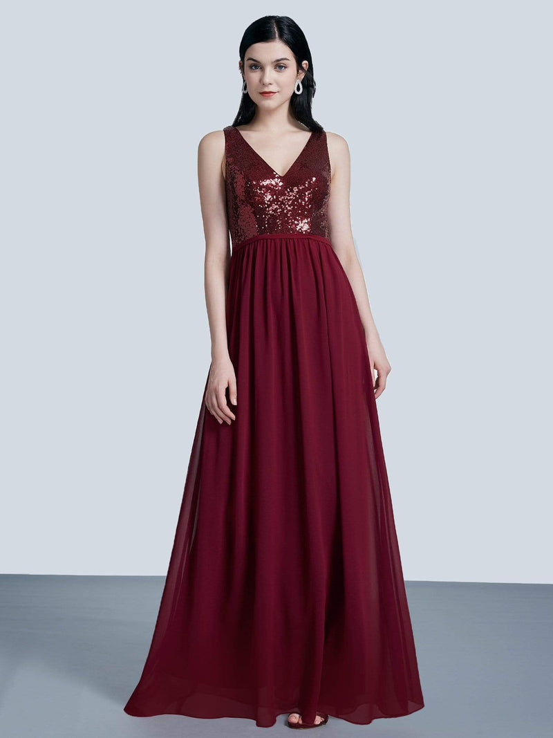 Long Sequin And Chiffon Evening Dress-Burgundy 1