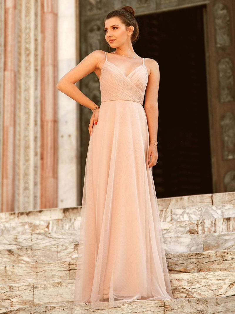 V Neck Spaghetti Strap Long Blush Bridesmaid Dress-Blush 1