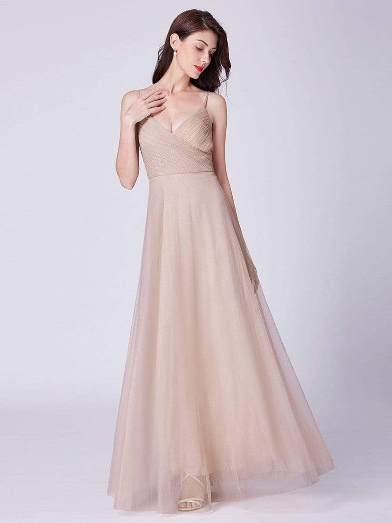 V Neck Spaghetti Strap Long Blush Bridesmaid Dress-Blush 15