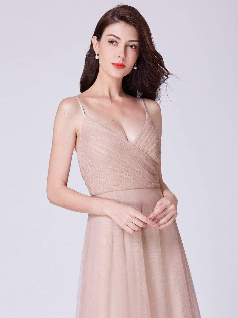 V Neck Spaghetti Strap Long Blush Bridesmaid Dress-Blush 16
