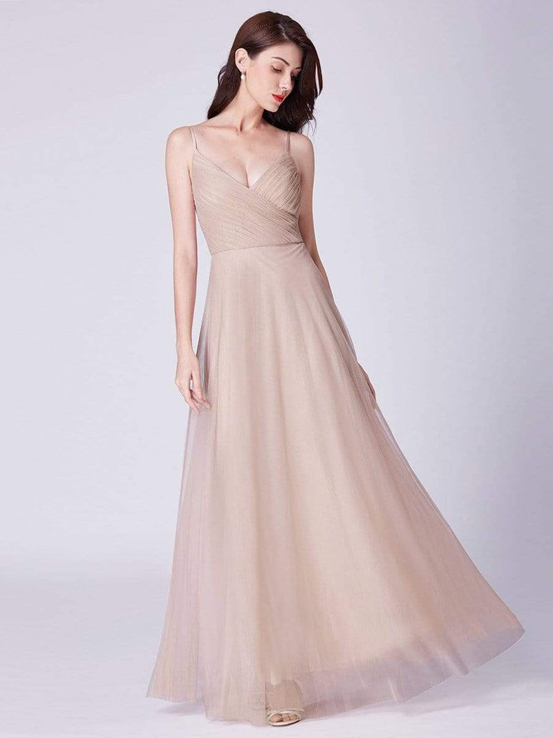 V Neck Spaghetti Strap Long Blush Bridesmaid Dress-Blush 12