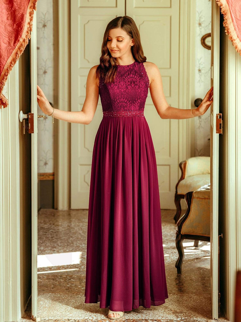 Empire Waist Sleeveless Maxi Long A Line Lace Evening Dresses-Burgundy 2