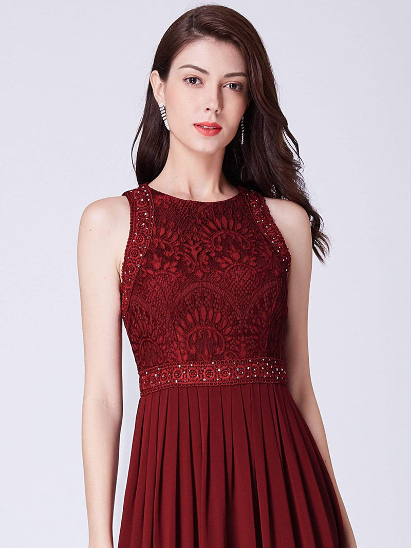 Empire Waist Sleeveless Maxi Long A Line Lace Evening Dresses-Burgundy 7
