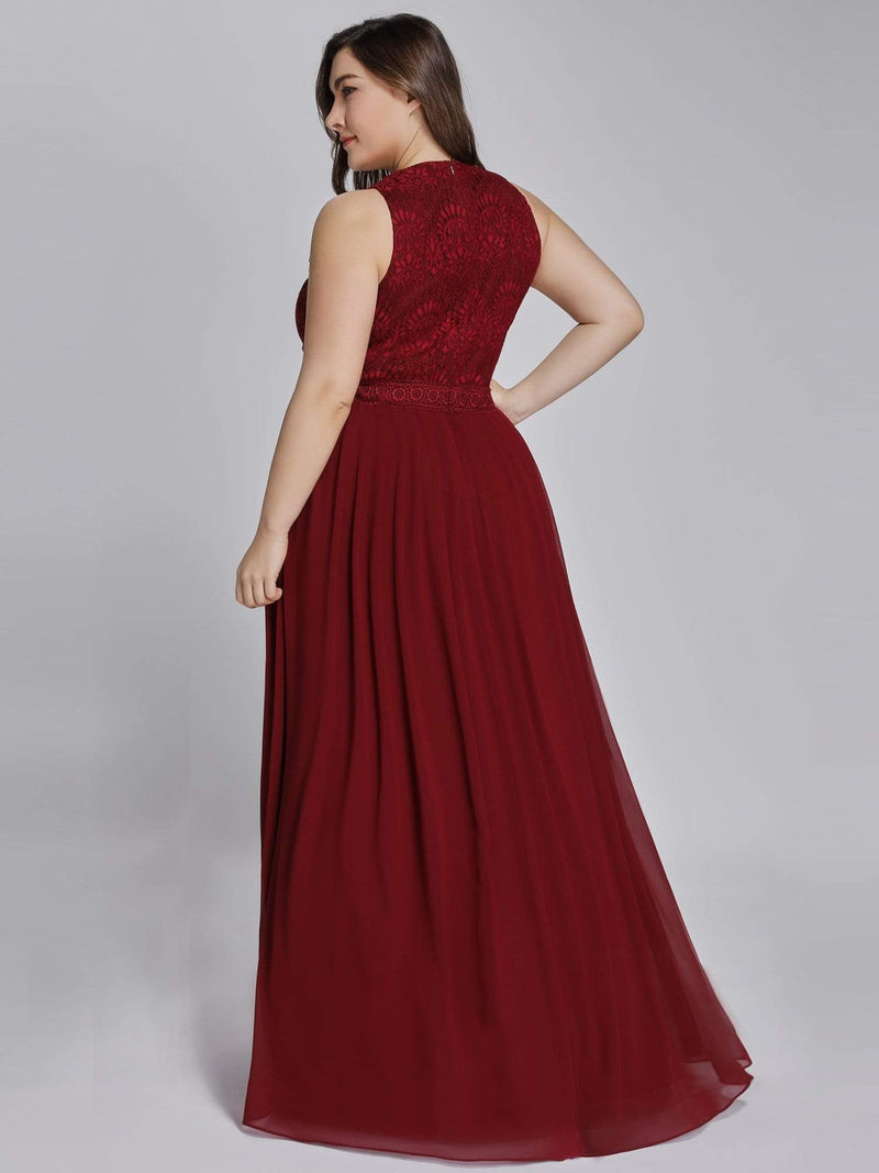 Empire Waist Sleeveless Maxi Long A Line Lace Evening Dresses-Burgundy 9