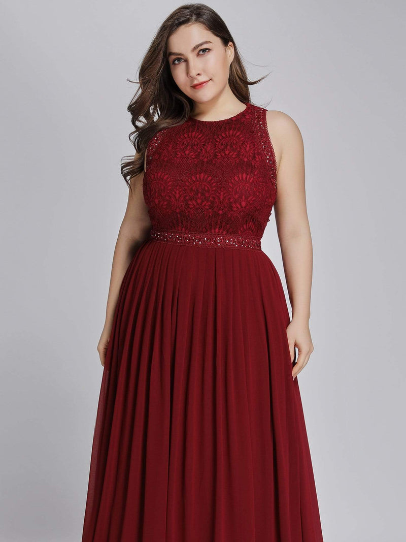 Empire Waist Sleeveless Maxi Long A Line Lace Evening Dresses-Burgundy 10