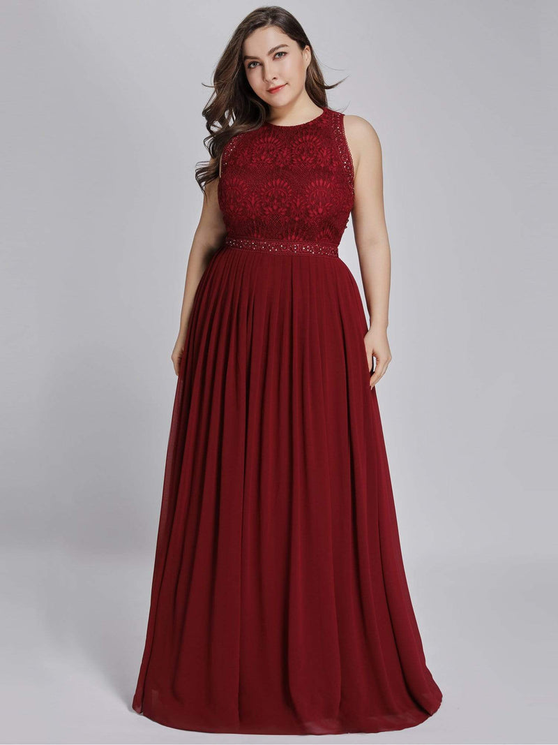 Empire Waist Sleeveless Maxi Long A Line Lace Evening Dresses-Burgundy 8