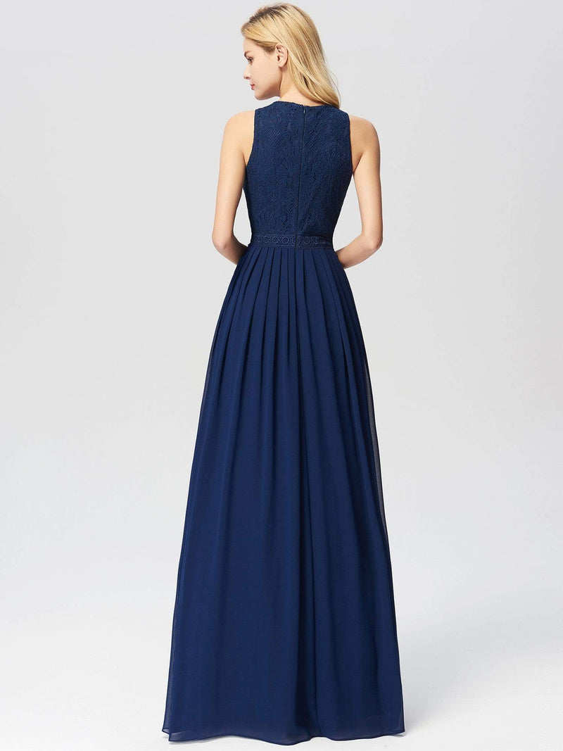 Empire Waist Sleeveless Maxi Long A Line Lace Evening Dresses-Navy Blue 5