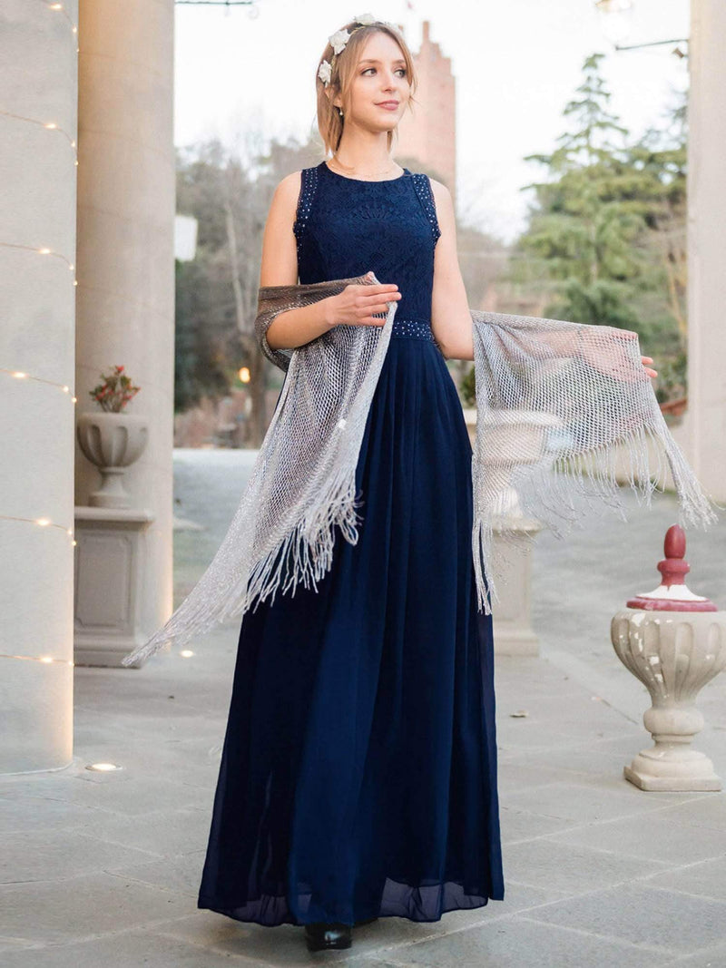 Empire Waist Sleeveless Maxi Long A Line Lace Evening Dresses-Navy Blue 2
