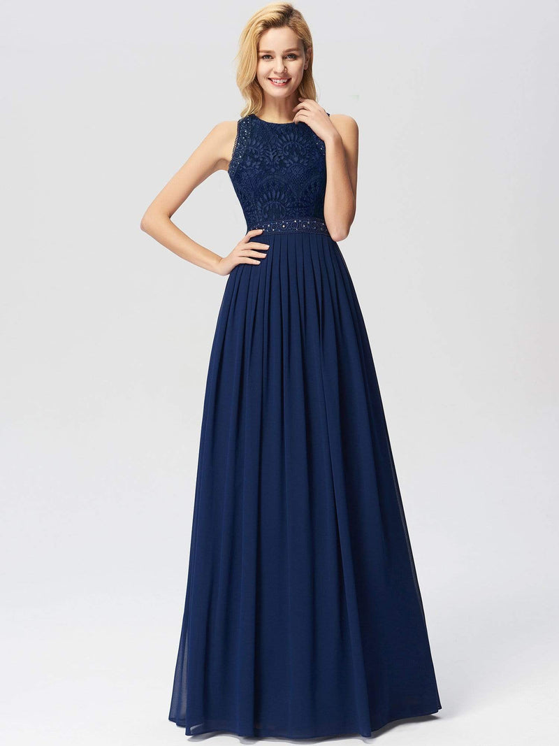 Empire Waist Sleeveless Maxi Long A Line Lace Evening Dresses-Navy Blue 4