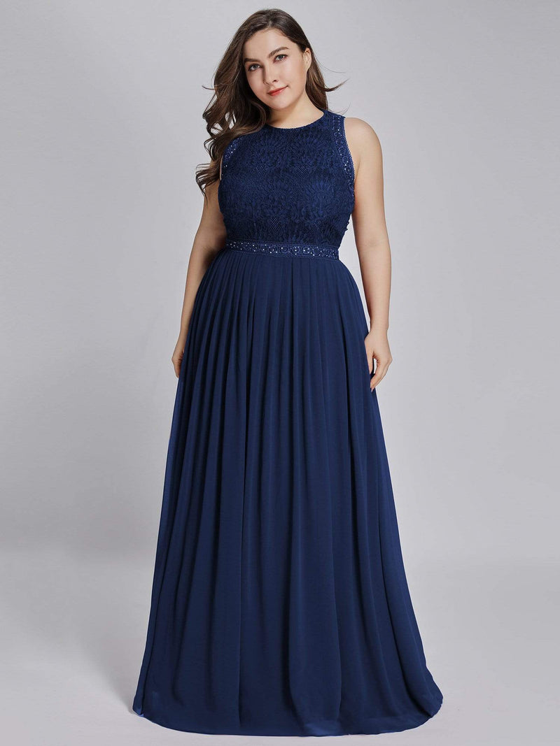 Empire Waist Sleeveless Maxi Long A Line Lace Evening Dresses-Navy Blue 9