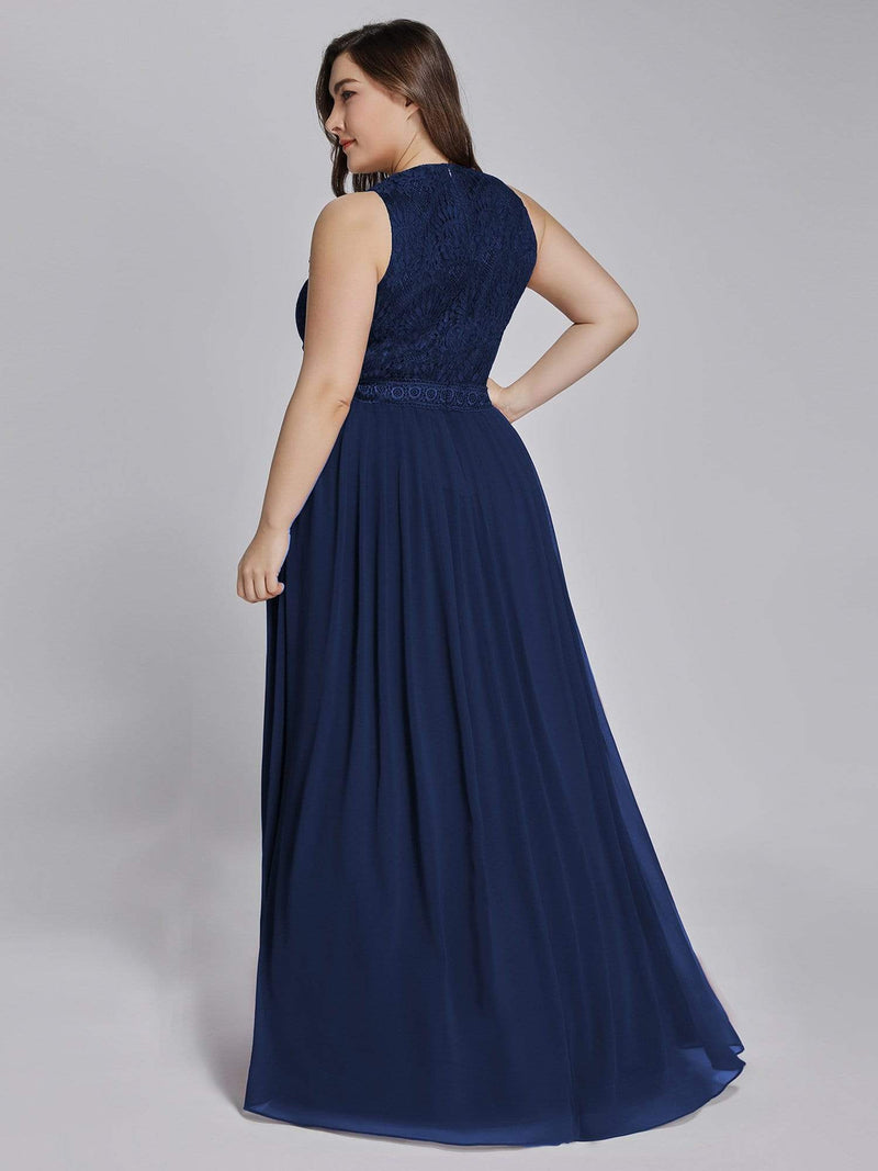 Empire Waist Sleeveless Maxi Long A Line Lace Evening Dresses-Navy Blue 11