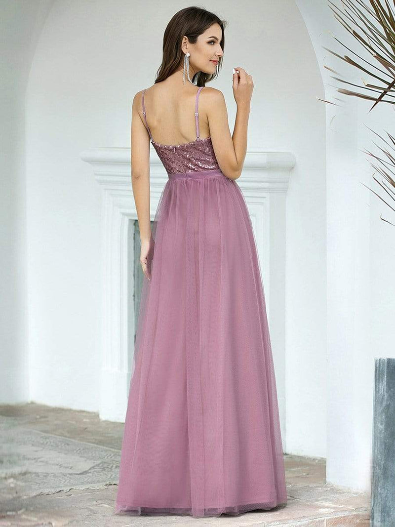 Long Prom Dress With Sequin Bust-Purple Orchid 2