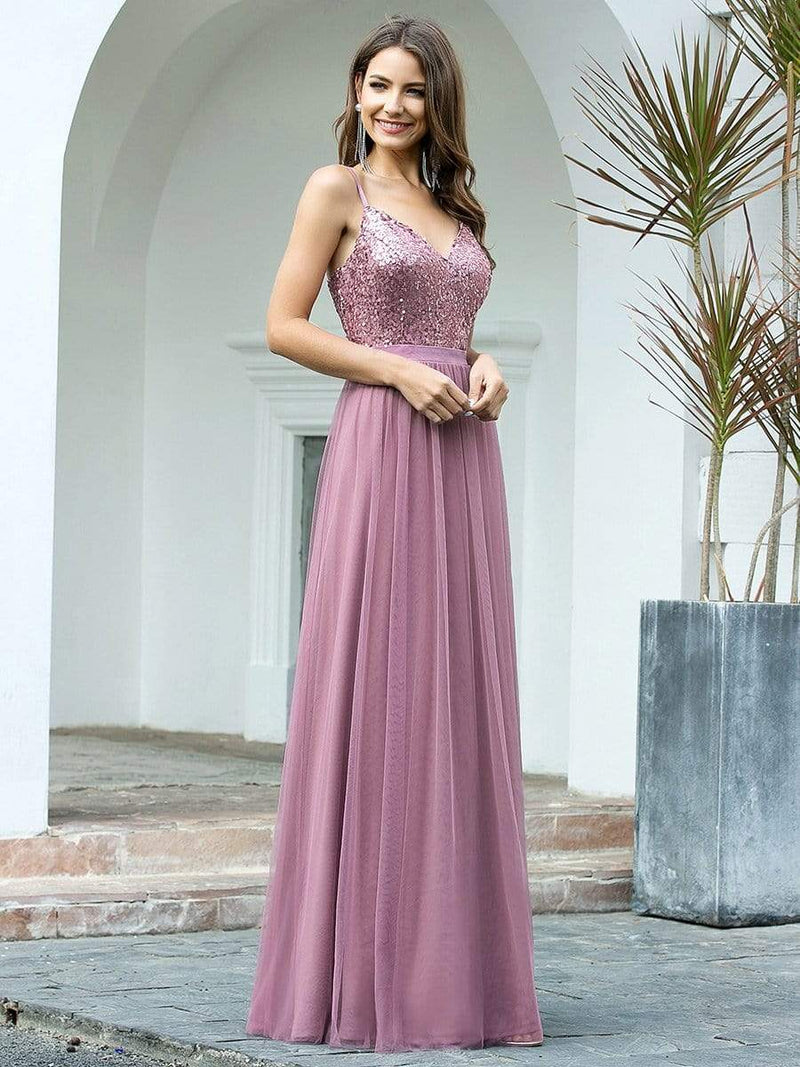 Long Prom Dress With Sequin Bust-Purple Orchid 3