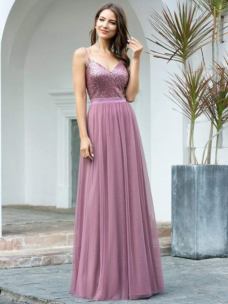 Long Prom Dress With Sequin Bust-Purple Orchid 4
