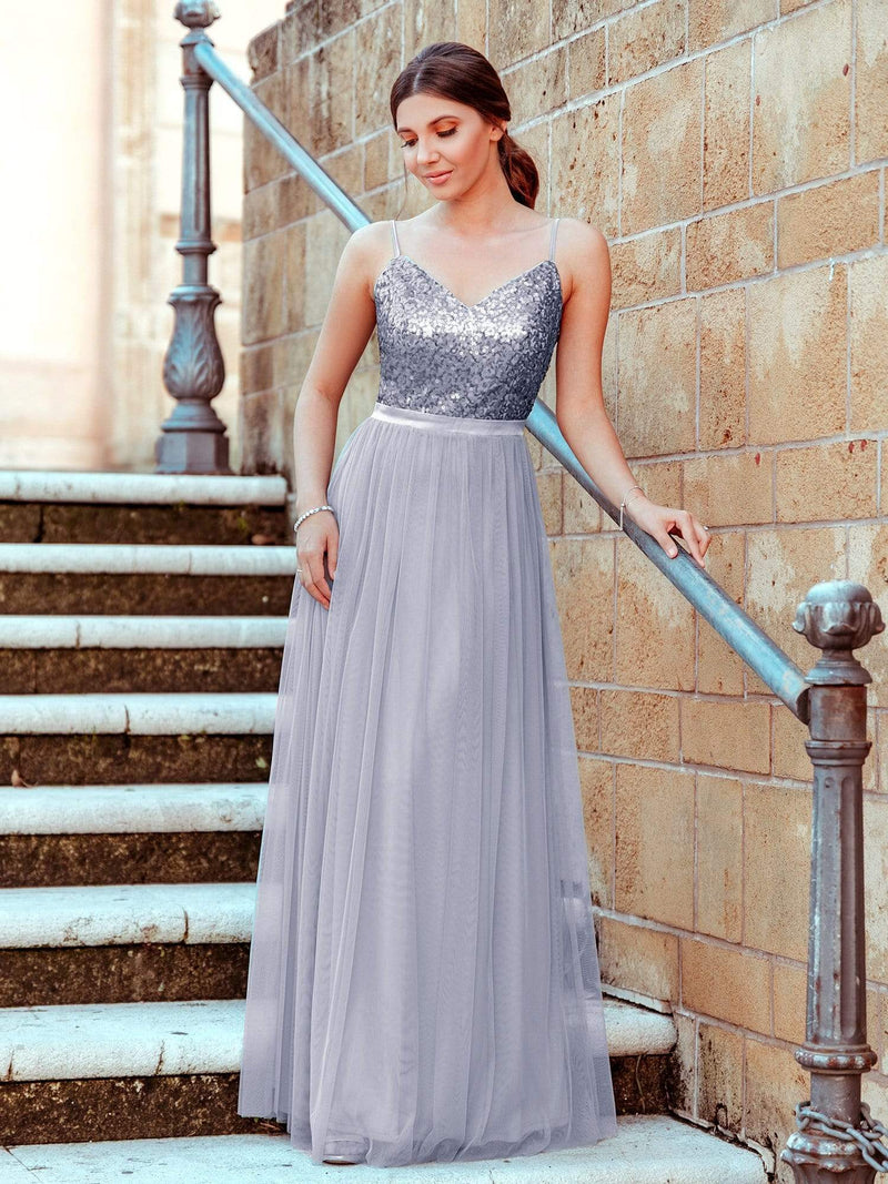 Long Prom Dress With Sequin Bust-Silver 2