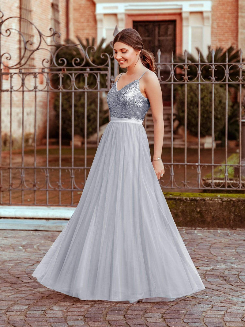 Long Prom Dress With Sequin Bust-Silver 1