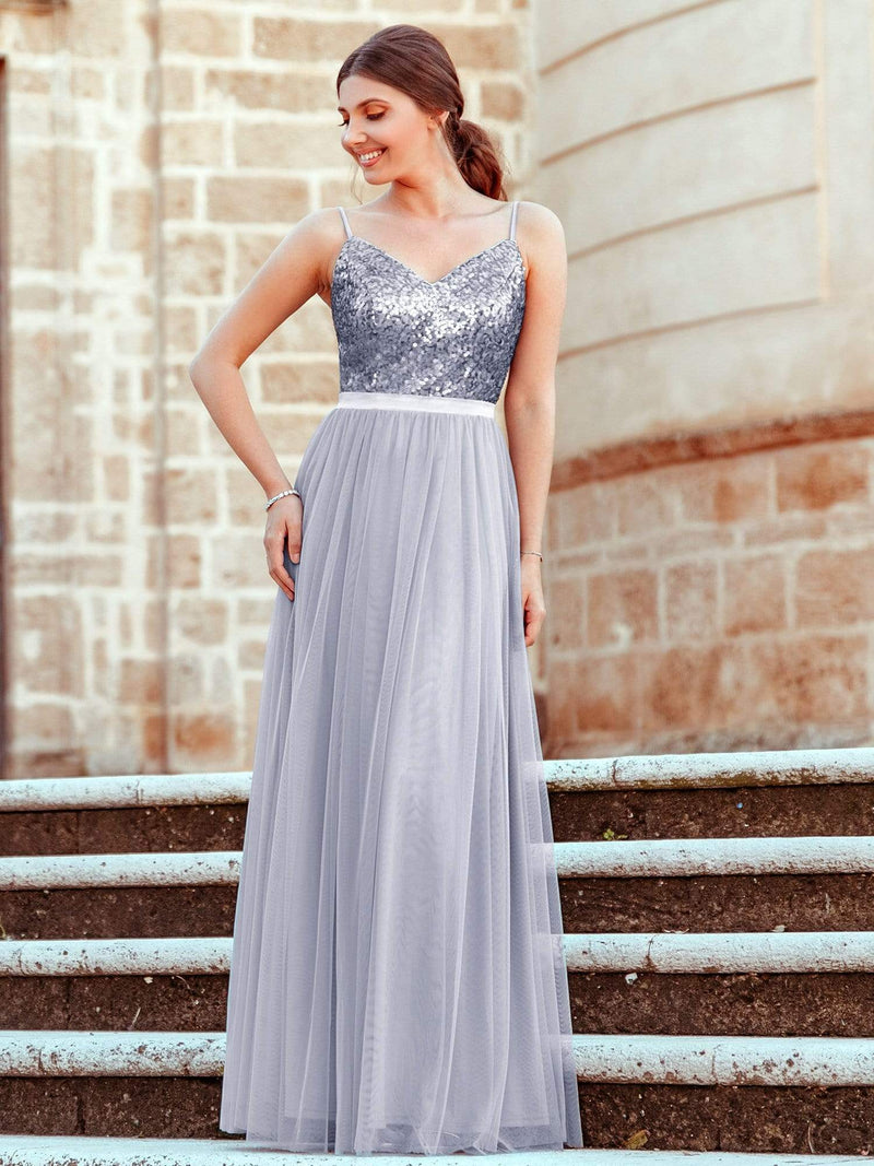 Long Prom Dress With Sequin Bust-Silver 4