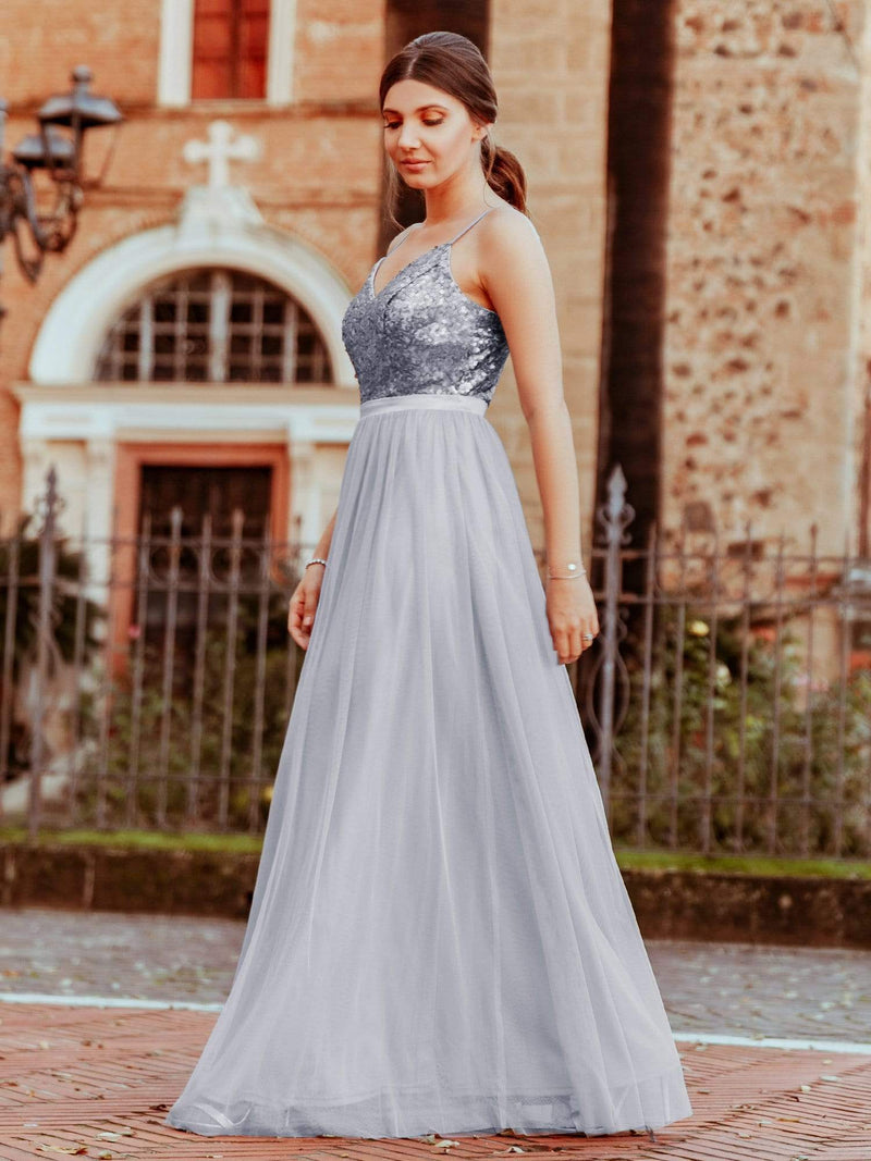 Long Prom Dress With Sequin Bust-Silver 3
