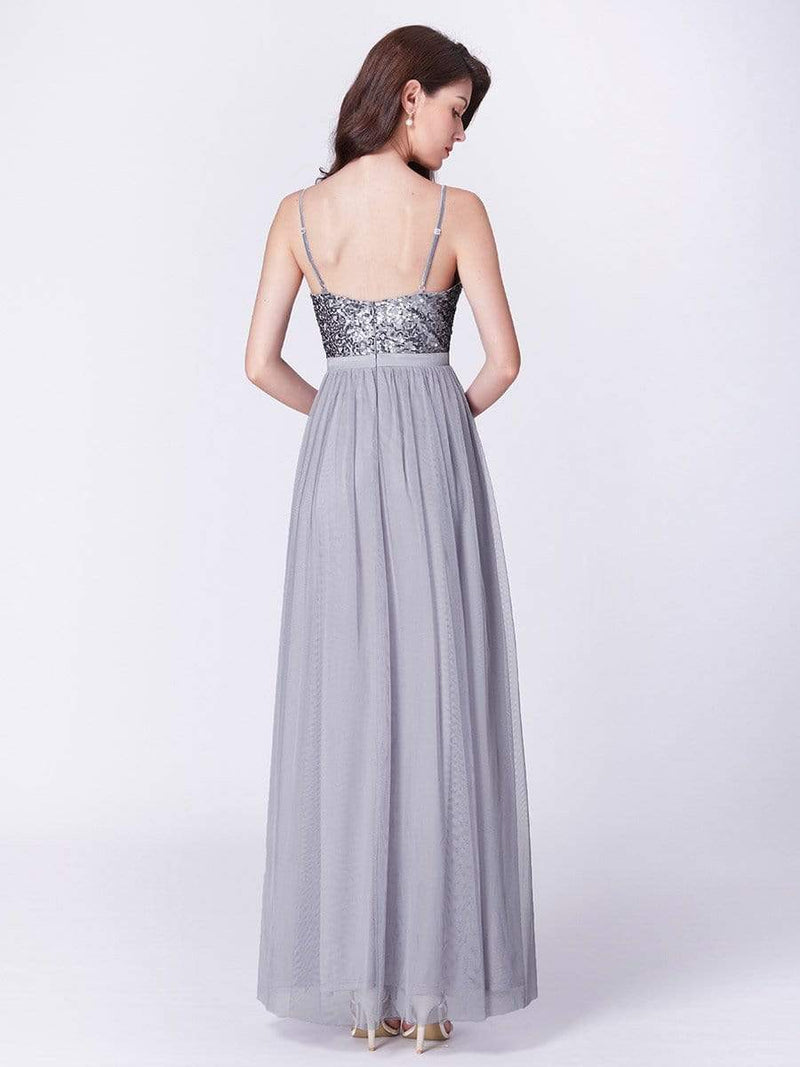 Long Prom Dress With Sequin Bust-Silver 7