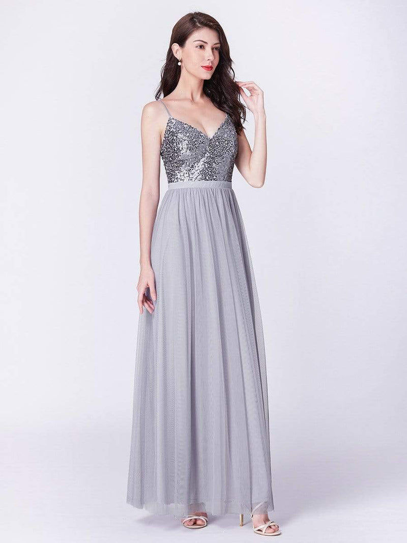 Long Prom Dress With Sequin Bust-Silver 8