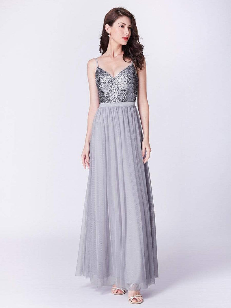Long Prom Dress With Sequin Bust-Silver 9