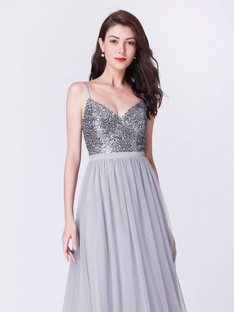 Long Prom Dress With Sequin Bust-Silver 10