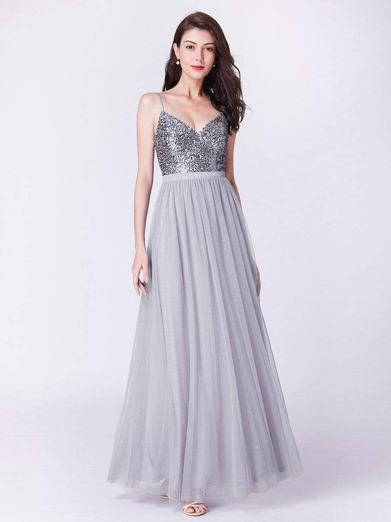 Long Prom Dress With Sequin Bust-Silver 6