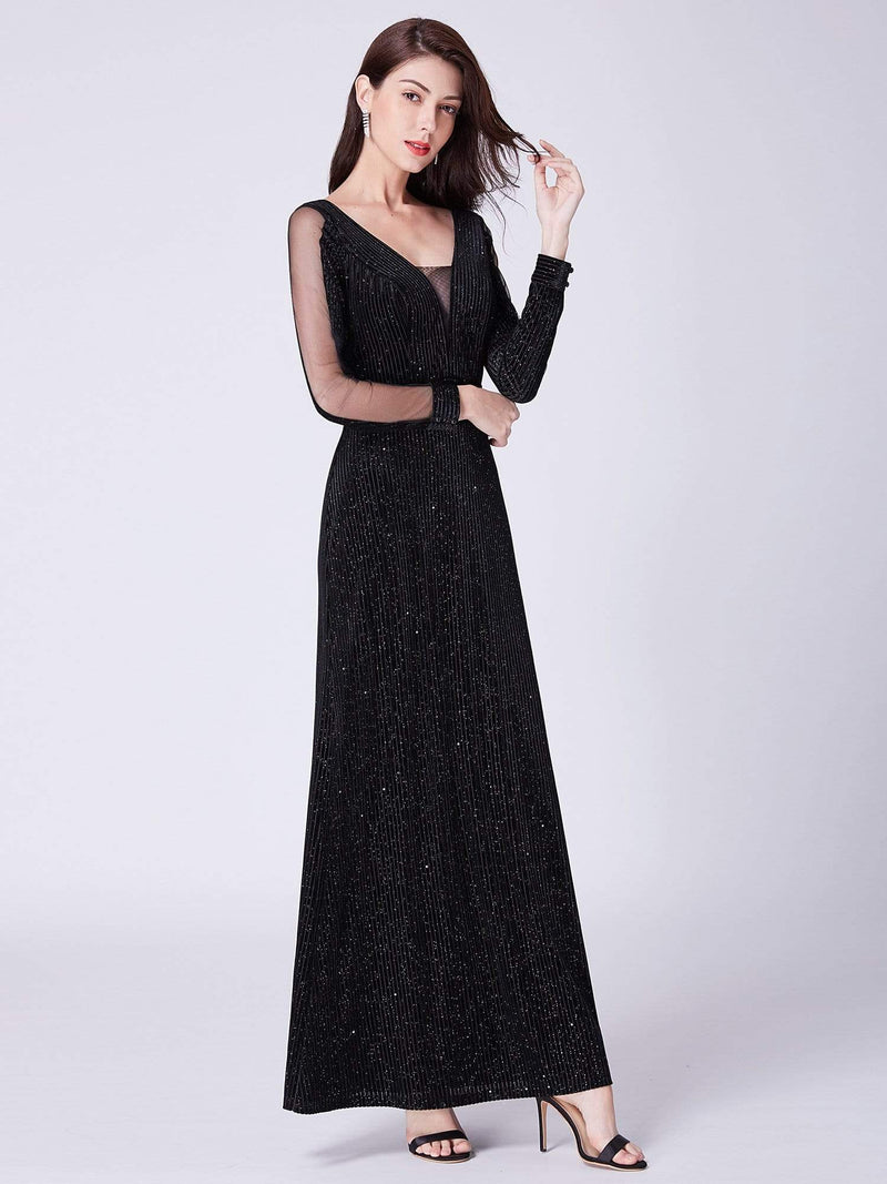 Shimmery Evening Dress With Long Sleeves-Black 2