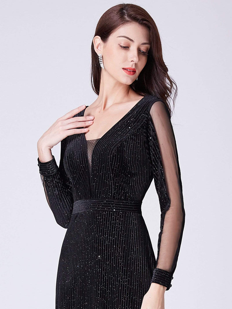 Shimmery Evening Dress With Long Sleeves-Black 5
